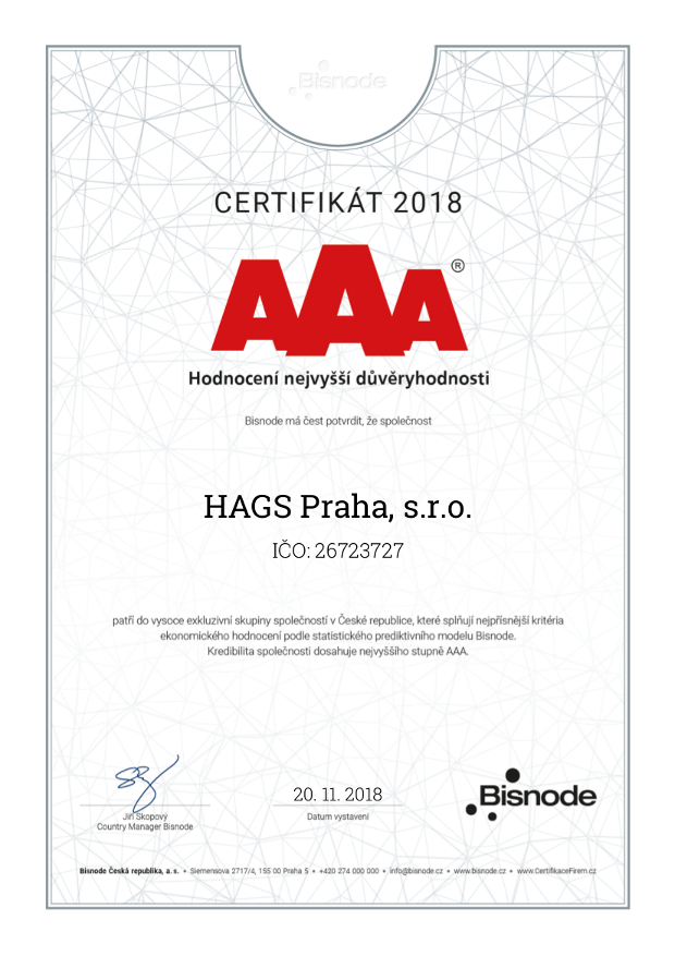certifikát ISO AAA 2018