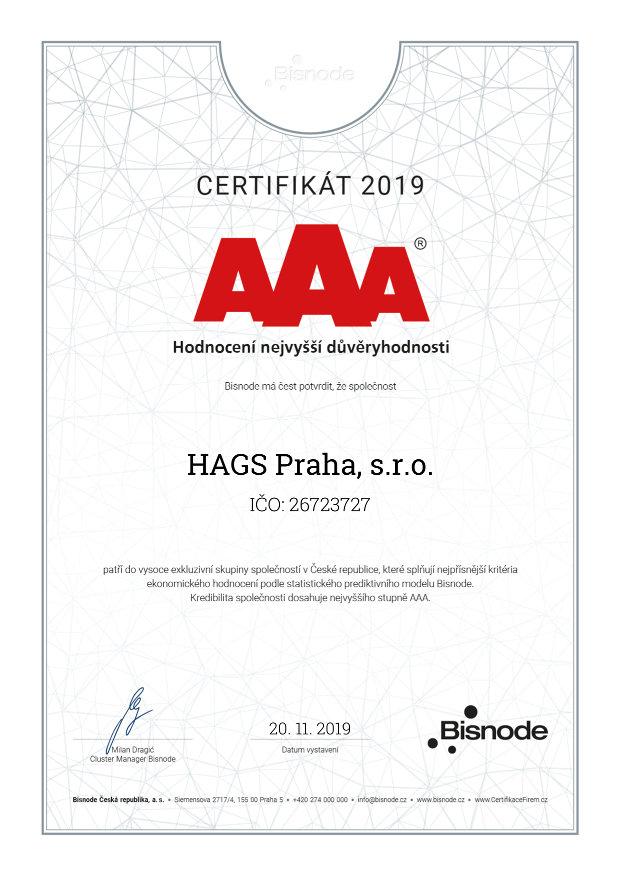 certifikát ISO AAA 2019