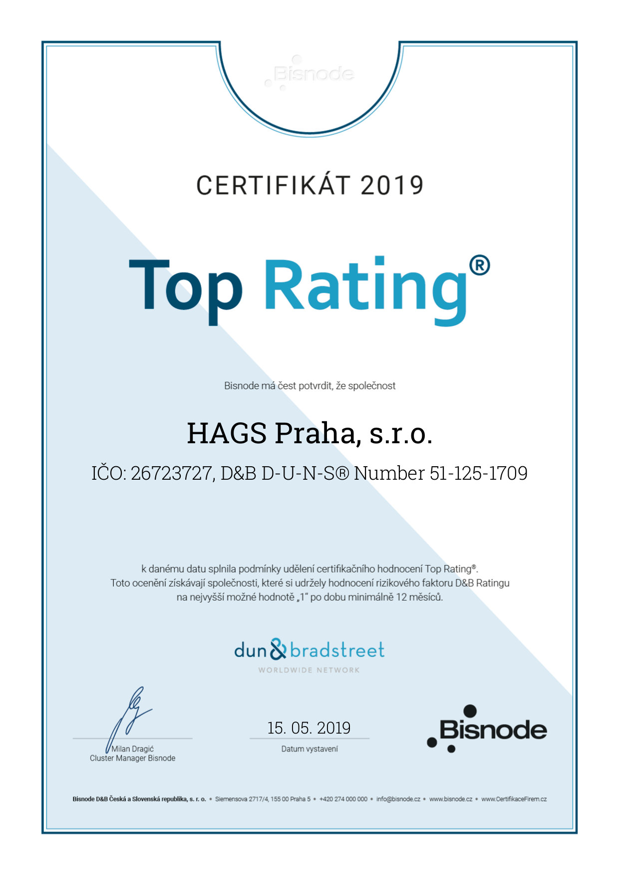 Certifikát Top Rating 2019